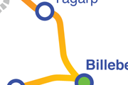 Linjen Billeberga - Tågarp karta