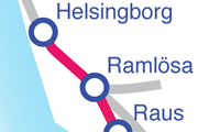 Linjen Ramlösa Helsingborg C karta