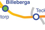 Linjen Billeberga-Teckomatorp karta