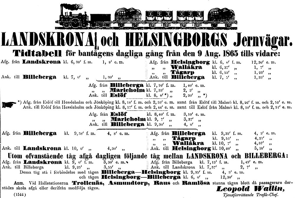 Tidtabell LHJ 9 augusti 1865
