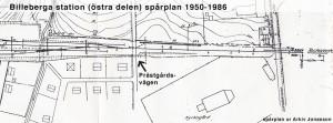 Karta över Billeberga station med övergången Prästvägen