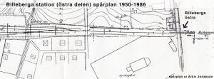 Karta järnvägen och övergången Billeberga östra